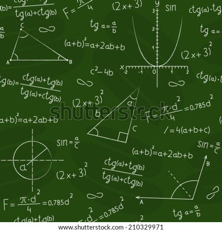Seamless background in the form of a school board with a geometric figures and formulas  - stock vector