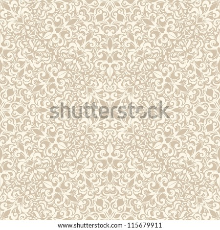 Seamless background in the style of beige damask - stock vector