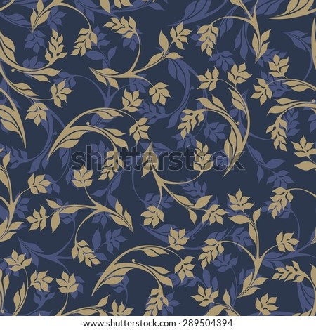Seamless Background Style Damascus Floral Pattern Stock