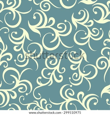 Seamless background in the style of Damascus. Floral pattern. Wallpaper baroque, damask. Seamless white and blue background.
