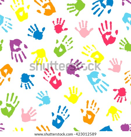 Seamless background made from color handprints. Multicolor pattern for your design. - stock vector
