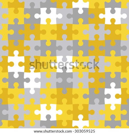 Seamless background made of  colorful puzzle pieces - stock vector