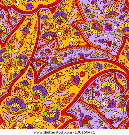 Seamless background made of paisley. Bright yellow, red and violet colors. - stock vector