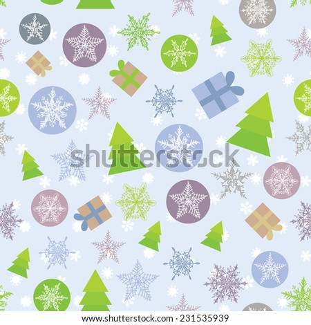 Seamless background Merry Christmas Card, green, lilac and purple. vector - stock vector