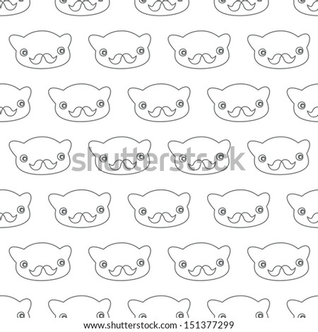 Seamless background. Monsters and freaks. Set 24. Bear-hipster. Black-white. Vector illustration - stock vector