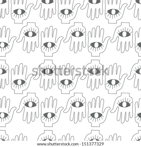Seamless background. Monsters and freaks. Set 20. Hand with eye. Black-white. Vector illustration - stock vector