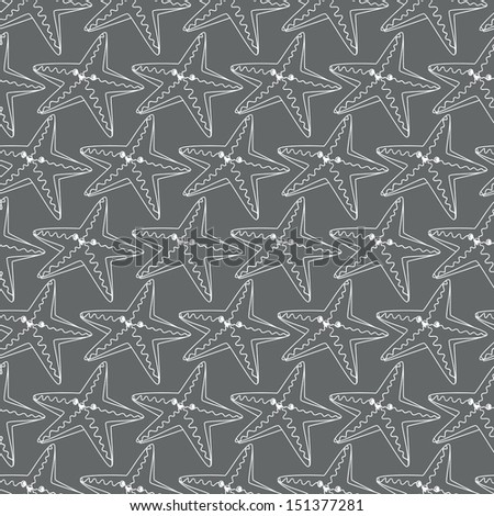 Seamless background. Monsters and freaks. Set 11. Starfish. Black-white. Vector illustration - stock vector