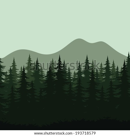 Seamless background, mountain landscape, night forest with fir trees silhouettes. Vector - stock vector