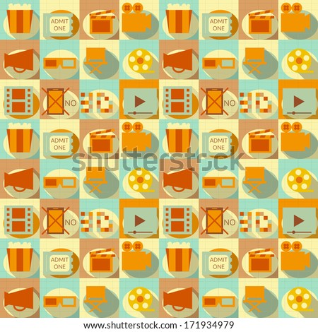 Seamless Background - Movie in Retro Style - Flat Design. Vector Illustrations  - stock vector