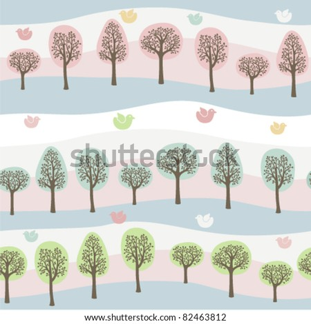 seamless background of a colorful forest - stock vector