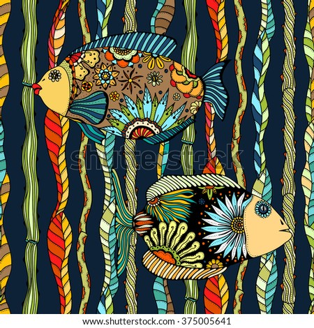Seamless background of abstract fish: pipefish and small fish, plants, hand drawn style zentangl. Colored vector illustration.