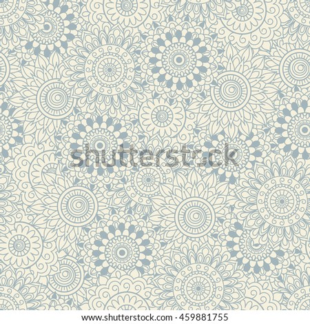 Seamless background of beige and blue color in in Arabic style