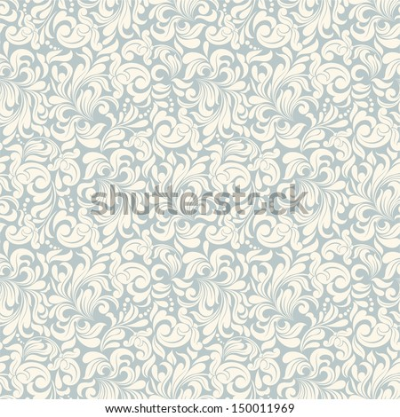 Seamless background of beige and blue color in the style of Damascus