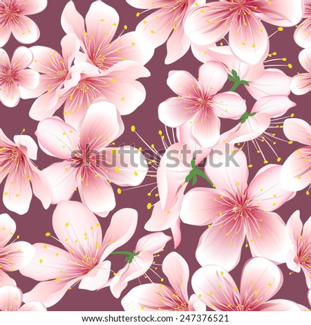 Seamless background of cherry blossom. Vector flowers pattern. - stock vector