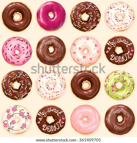 Seamless background of chocolate, pink, soft pink and green glazed donuts, vector collection of donuts illustration. - stock vector