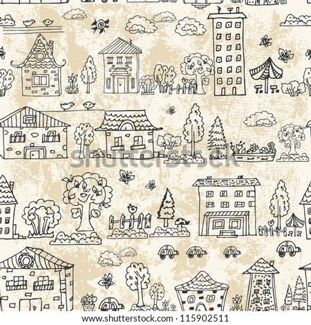 seamless background of city doodle grunge - stock vector