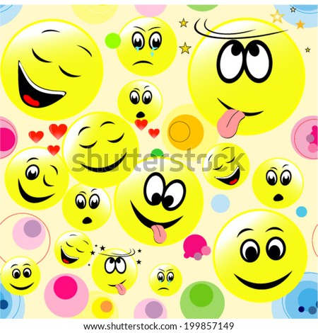 Seamless background of colorful smiley faces - stock vector