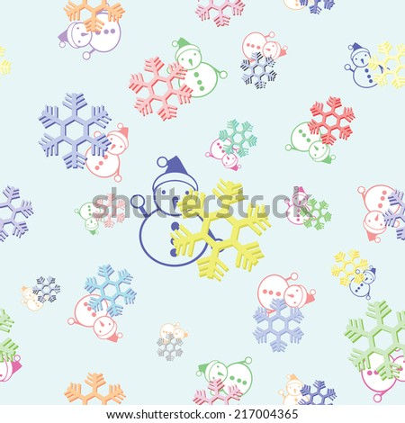 seamless background of colorful snowflake and snowman vector - stock vector