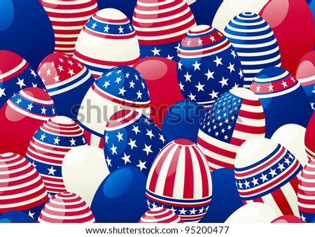 Seamless background of Easter eggs with american flag. Horizontal vector  background of  many easter eggs with stars and stripes at style of USA flag.