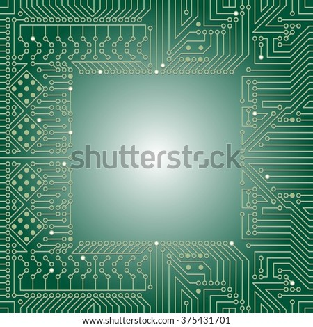 Seamless background of electrical circuit of computer board device (motherboards). Green Light Abstract Technology background for computer graphic website internet business. Electrical circuit.  - stock vector