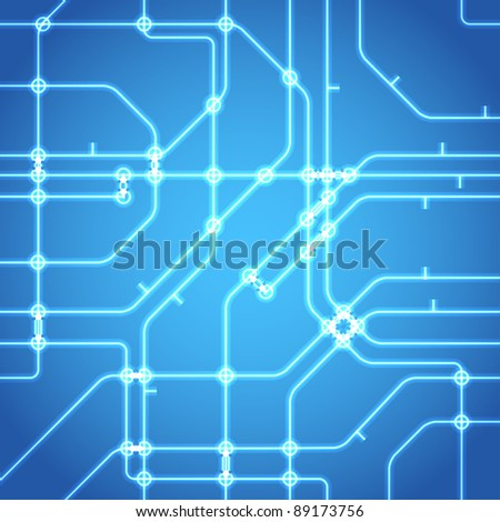 Seamless background of glowing metro scheme - stock vector
