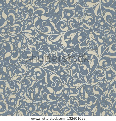 Seamless background of gold and blue color in the style of Damascus - stock vector