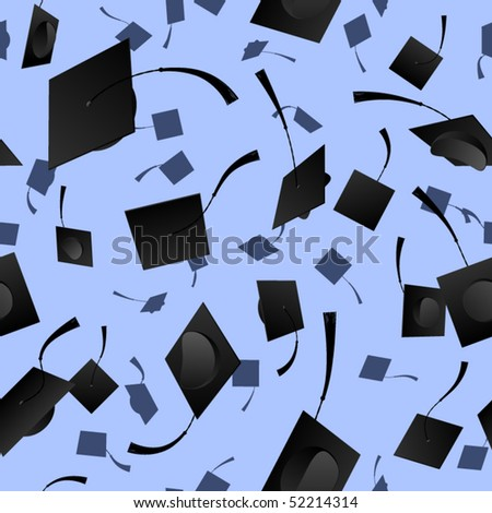 Seamless background of graduation caps over blue - stock vector