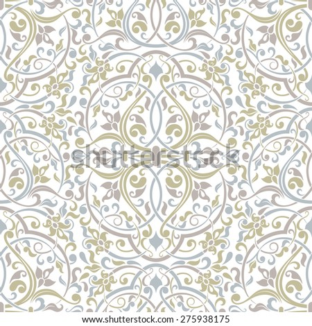 Seamless background of green, violet and blue color in the style of Damascus - stock vector