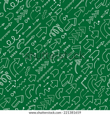 Seamless background of hand drawn arrows with question and exclamation marks on green background