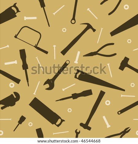 Seamless background of hand tools for construction - stock vector