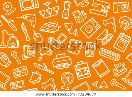 Seamless background of home appliances - stock vector