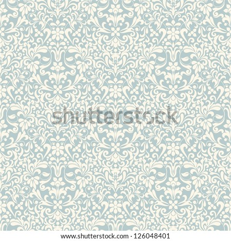Seamless background of light blue color in the style of Damascus - stock vector
