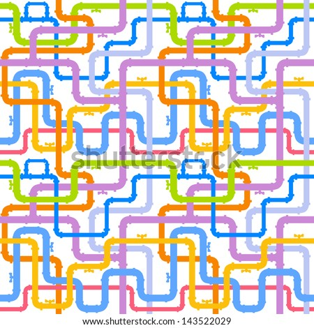 seamless background of multicolored pipes with valve - stock vector