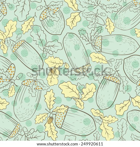 Seamless background of oak leaves and acorns. - stock vector