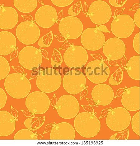 Seamless background of oranges - stock vector