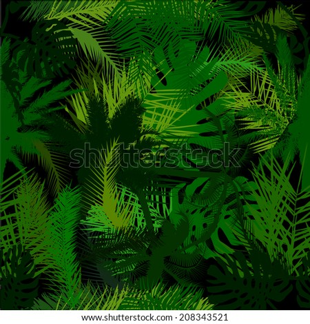 Seamless background of palm trees. Vector  - stock vector