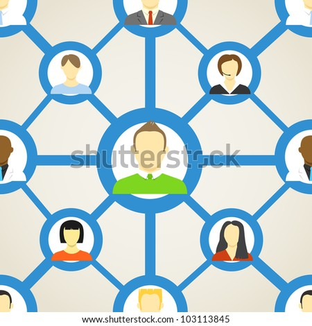 Seamless background of people on social network - stock vector