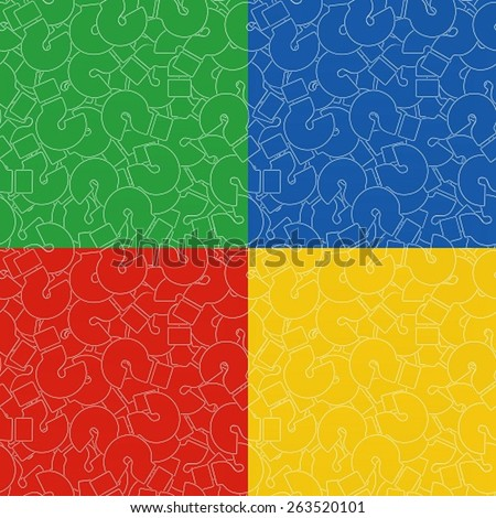 Seamless Background of Questions Mark. Help Symbol. Set of Backgrounds in Yellow, Red, Blue, and Green Color - stock vector