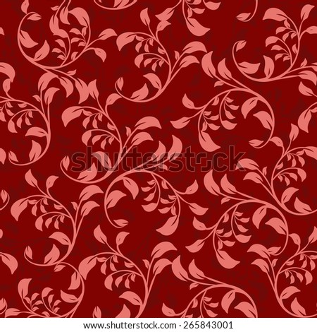 Seamless background of red color in the style of baroque - stock vector