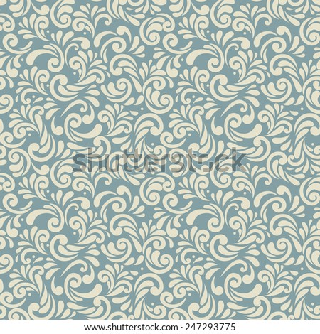 Seamless background of retro blue color, abstract floral template for design