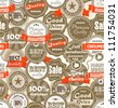 Seamless background of shopping Premium quality labels - stock vector