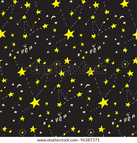 Seamless background of stars, moons and satellites over black - stock vector