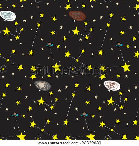 Seamless background of stars, planets and galaxies over black - stock vector