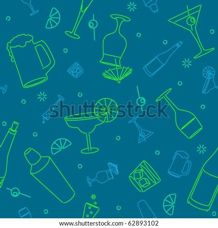 Seamless background of stylized alchoholic beverage glasses - stock vector