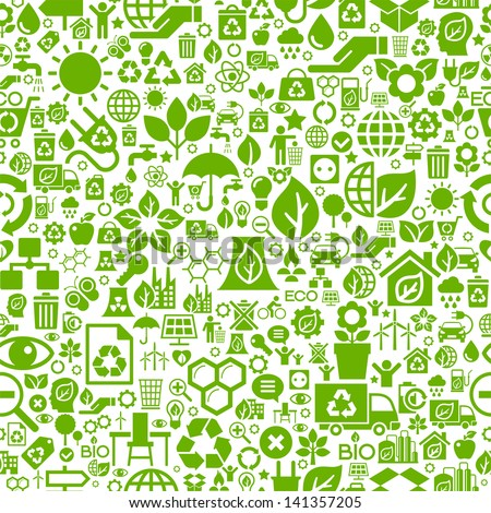 Seamless background of the icons of ecology and environment in vector format. Eco concept