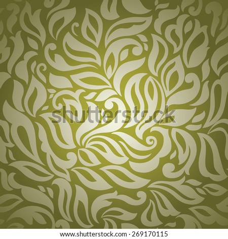 Seamless background of trendy golden-green color, abstract floral template for design - stock vector