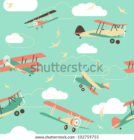 Seamless Background of Vintage Airplanes - stock vector