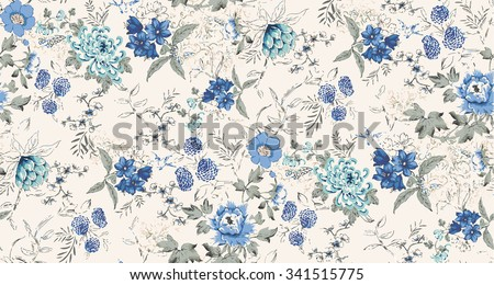 Seamless background of watercolor flowers - stock vector