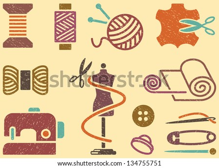 Seamless background on a sewing theme in vintage style - stock vector