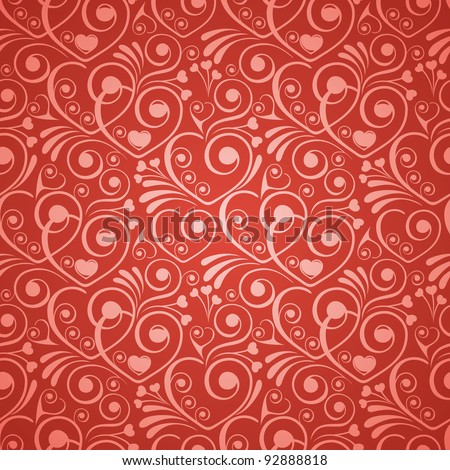 Seamless background on Valentine's Day with heart shape - stock vector